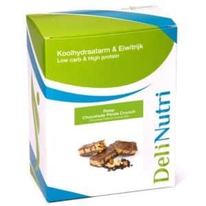 Delinutri Koolhydraatarme Reep Chocolade Pinda Crunch Doosje