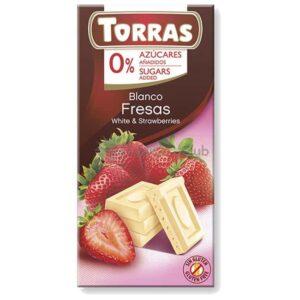 Suikervrije Chocoladetablet Wit Aardbei Torras