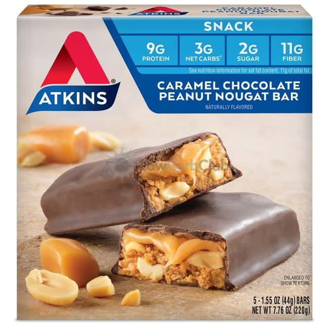 Atkins Usa Snack Caramel Chocolate Peanut Nougat Doos