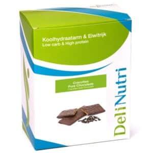 Delinutri Koolhydraatarme Cracottes Pure Chocolade Doosje