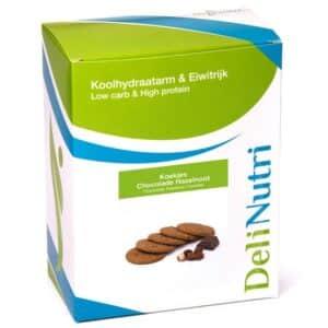 Delinutri Koolhydraatarme Koekjes Chocolade Hazelnoot Doosje