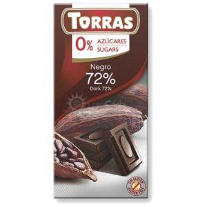 Suikervrije Chocoladetablet Puur 72 Procent Torras