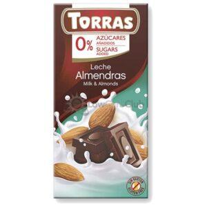 Suikervrije Chocoladetablet Melk Amandel Torras