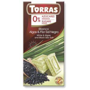 Suikervrije Chocoladetablet Wit Algen Zwarte Zeezout Torras