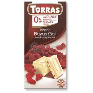 Suikervrije Chocoladetablet Wit Gojibes Torras