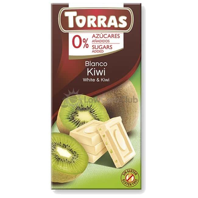 Suikervrije Chocoladetablet Wit Kiwi Torras