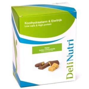 Delinutri Koolhydraatarme Reep Toffee Chocolade Doosje
