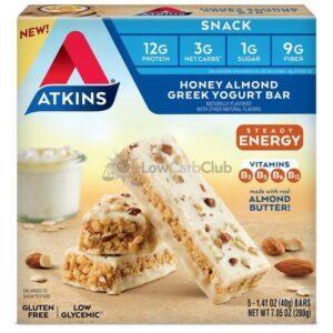 Atkins Usa Snack Energy Honey Almond Greek Yoghurt Bar Doos