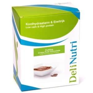 Delinutri Koolhydraatarme Pudding Crispy Pure Chocolade Doosje