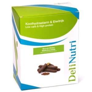 Delinutri Koolhydraatarme Biscuit Sticks Melkchocolade Doosje